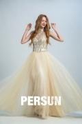 Persun Elegant Halter Crystal Details Long Prom Gown