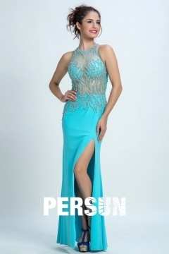 Persun Gorgeous Beaded Mermaid Scoop Long Prom Gown
