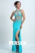 Persun Gorgeous Beaded Mermaid Scoop Long Evening Gown