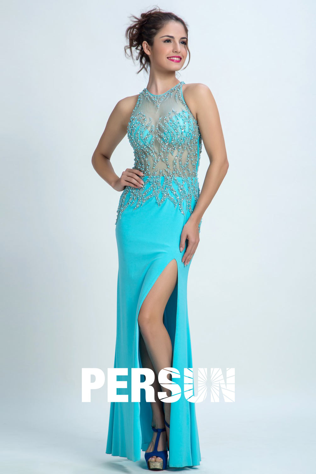 Persun Gorgeous lace transparent Beaded Mermaid Scoop Long Evening Gown