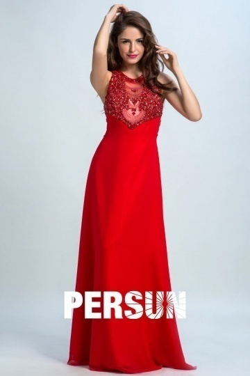 Dressesmall Persun Scoop Open Back Crystal Details Long Prom Gown