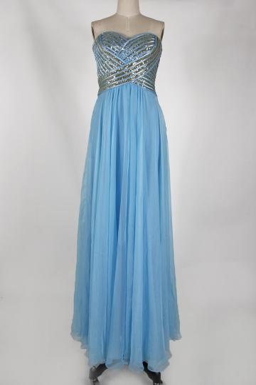 Sequins Strapless Back Criss Cross Chiffon Blue Long Bridesmaid Gown