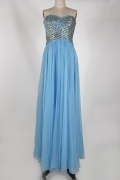 Sequined Strapless Back Criss Cross Chiffon Blue Long Formal Dress