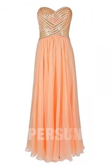 Dressesmall Sequined Strapless Chiffon Orange Long Formal Dress