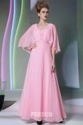 Rose robe soirée longue à manche large