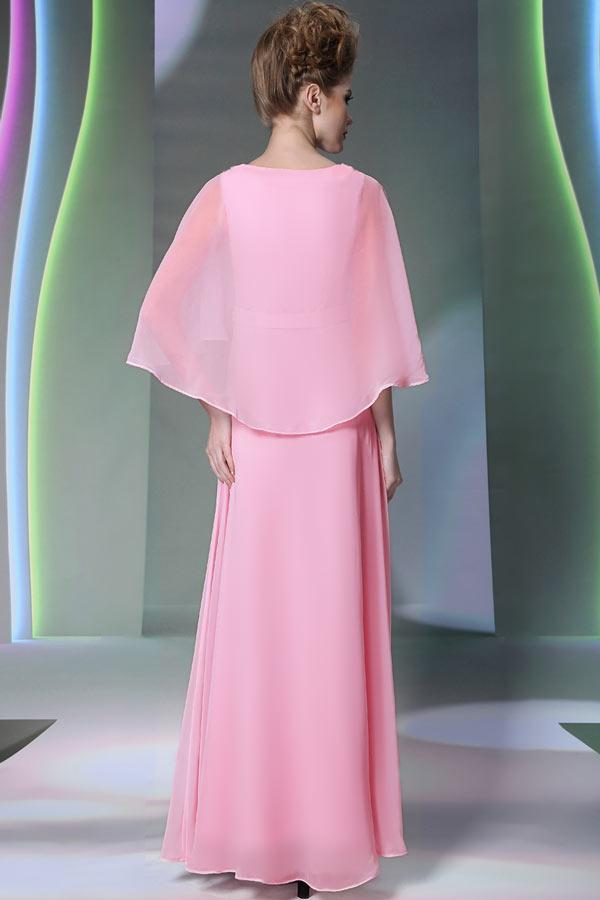longue robe de soir e rose avec cape orn de strass sur la taille. Black Bedroom Furniture Sets. Home Design Ideas