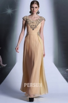 Wakefield Noble Embroidery Long UK Prom Gown in Desert tan