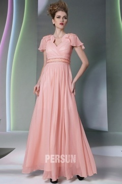 Totton Chic V Neck Pleats Pink Long UK Prom Gown