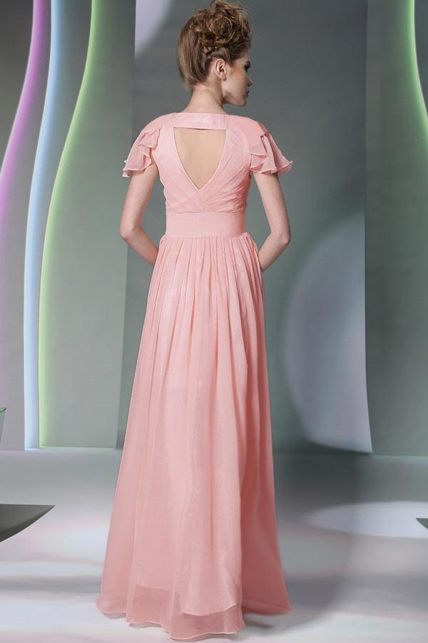 robe demoiselle d 39 honneur rose longue mancheron. Black Bedroom Furniture Sets. Home Design Ideas