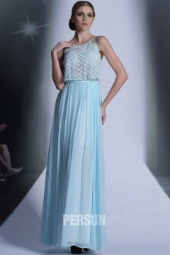 Ulverston Simple Scoop Lace Light Blue Prom Gown with Sheer Top