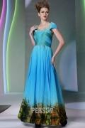 Chic robe de soirée bleue imprimée à décolleté carré