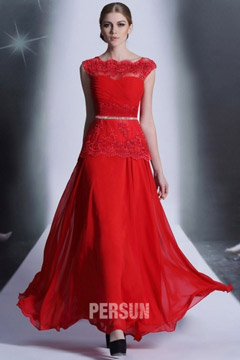 Torquay Vintage Bateau Red Prom Gown with Lace Peplum Details