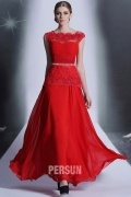 Red Long Formal dress with Lace peplum detail