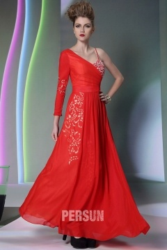 Todmorden Chic Red Appliques UK Prom Gown with Cutout Details