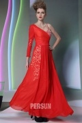 Todmorden Chic Chiffon Red Appliques Prom Dress with Cutout Details