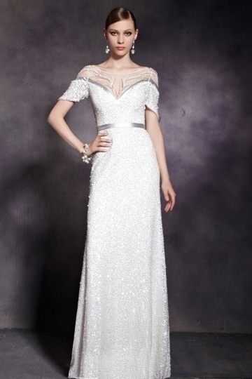 Dressesmall Gorgeous White Sequins Short Sleeves Empire Floor Length Prom Dress