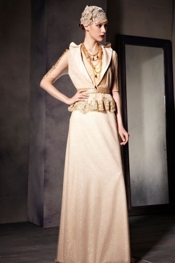 Dressesmall Chic Champagne Tone Sleeveless Floor Length Prom Dress with Jacket