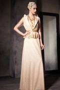 Chic Champagne Tone Sleeveless Floor Length Prom Dress with Jacket
