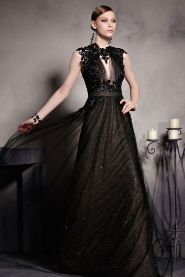 Dressesmall Beautiful Black Scoop Sleeveless Open Back Floor Length Formal Dress