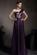 Sequins Purple Tone One Shoulder A line Floor Length Formal Dress