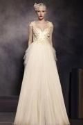 Luxus A-Linie V-Ausschnitt Empire Bodenlanges Tüll Abendkleider