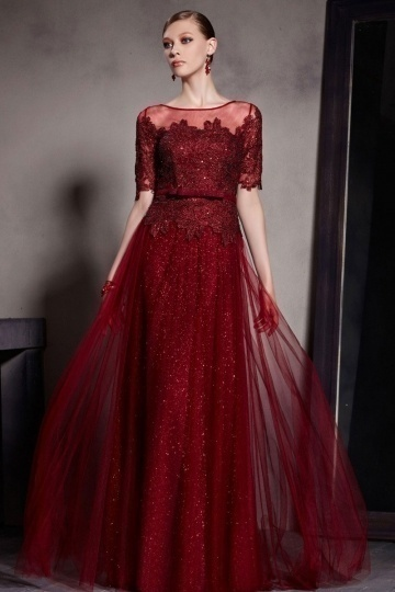 Dressesmall Beautiful Half Sleeves Dark Red A line Tulle Floor Length Formal Dress
