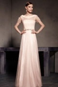 Chic Rosa A Linie Rund Ausschnitt Langes Tüll Abendkleider mit Ärmeln