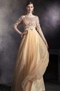 Sequins Half Sleeves Bateau Tulle Floor Length School Formal Dress