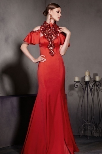 Dressesmall Gorgeous Red Satin Trumpet Short Sleeves Floor Length Formal Dress
