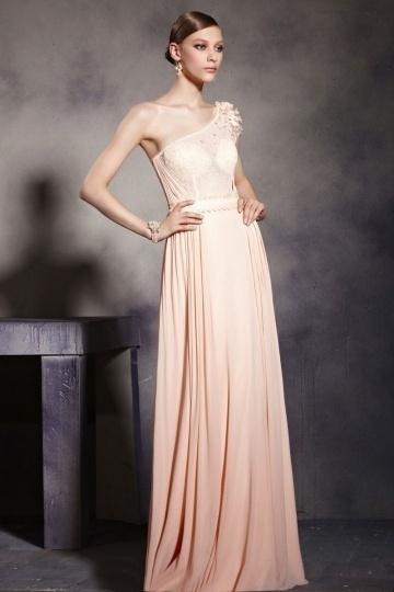 Dressesmall Elegant Pink Tone One Shoulder Empire Chiffon Floor Length Formal Dress