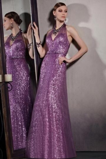 Dressesmall Purple Tone Sequins Halter Backless Zipper Floor Length Formal Dress