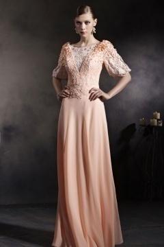 Beautiful Orange Tone Half Sleeves Appliques Chiffon Floor Length Prom Dress