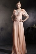 Beautiful Orange Tone Half Sleeves Appliques Chiffon Floor Length Prom Dress