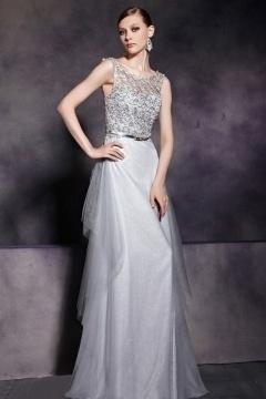 Modern A line Sleeveless Gray Tone Empire Tulle Floor Length School Formal Dress