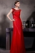 Chic Red Flower Column Sleeveless Tulle Floor Length School Formal Dress