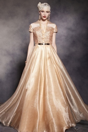 Dressesmall Unique Champagne Tone V neck Short Sleeves Sequins Floor Length Prom Dress