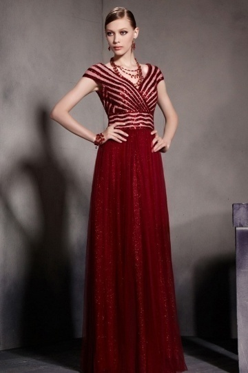 Dressesmall Red Tone Sequins Cap Sleeves V neck Ruched Tulle Floor Length School Formal Dress