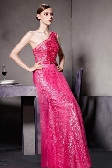 Dressesmall Fushcia Sequins One Shoulder Sleeveless Floor Length Prom Dress