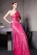 Fushcia Sequins One Shoulder Sleeveless Floor Length Prom Dress