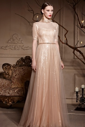 Dressesmall Vintage High Neck Champagne A line Zipper Tulle Long Formal Dress