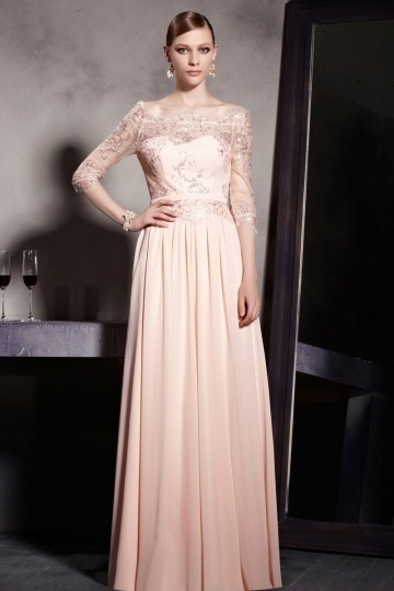 Dressesmall Elegant Half Sleeves Embroidery A line Chiffon Floor Length School Formal Dress