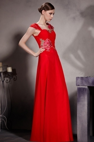 Dressesmall Simple Red Embroidery Sleeveless Chiffon Floor Length Prom Dress