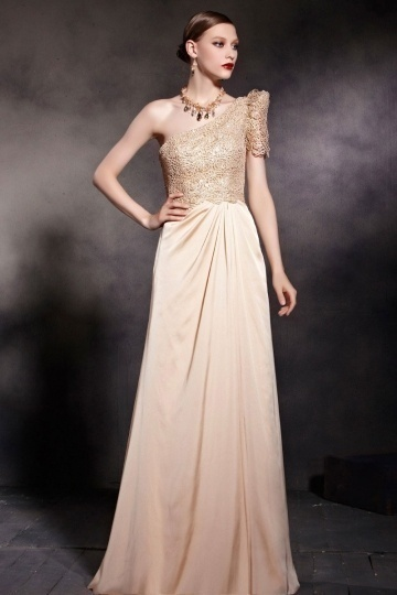 Dressesmall Beautiful Champagne Tone Column One Shoulder Ruched Floor Length Prom Dress