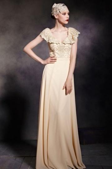 Dressesmall Chic V neck Cap Sleeves Zipper Empire Chiffon Floor Length Formal Dress