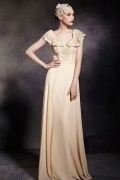 Chic V neck Cap Sleeves Zipper Empire Chiffon Floor Length Formal Dress