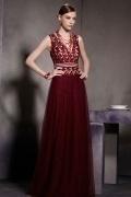 Sexy V Ausschnitt A Linie Rotes Langes Sequins Tüll Abendkleider