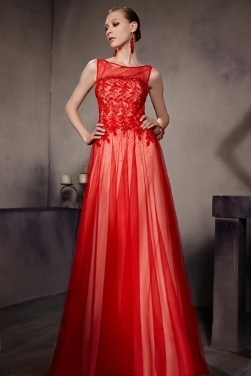 Dressesmall A line Red Scoop Beading Appliques Tulle Floor Length School Formal Dress