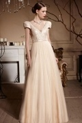 V neck Embroidery Cap Sleeves Empire Tulle Floor Length Formal Dress