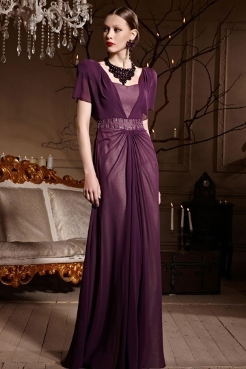 Dressesmall Purple Tone Short Sleeves A line Ruched Chiffon Long Formal Dress
