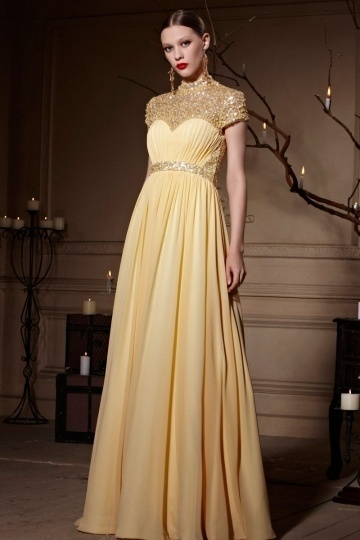 Yellow Tone Jewel Neckline Sheer Back Zipper Chiffon Long
